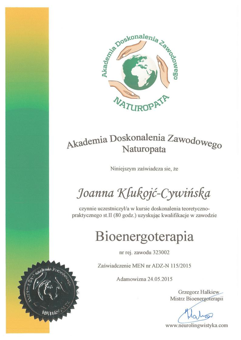 Akademia Doskonalenia Zawodowego Naturopata zaswiadczenie MEN 2 bioenergoterapia Joanna Klukojc-Cywinska