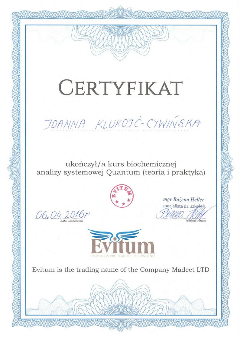 Certyfikat Quantum Joanna Klukojc-Cywinska