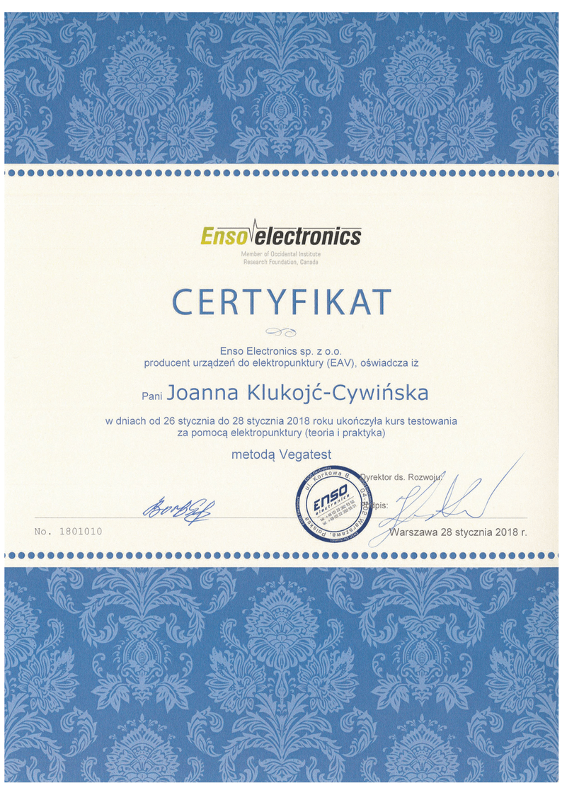 Certyfikat metoda Vegatest Joanna Klukojc-Cywinska