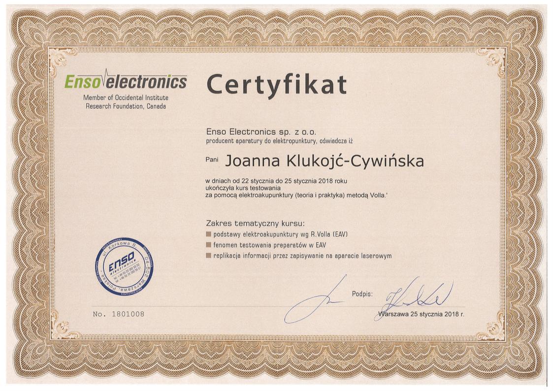 Certyfikat metoda test Volla Joanna Klukojc-Cywinska
