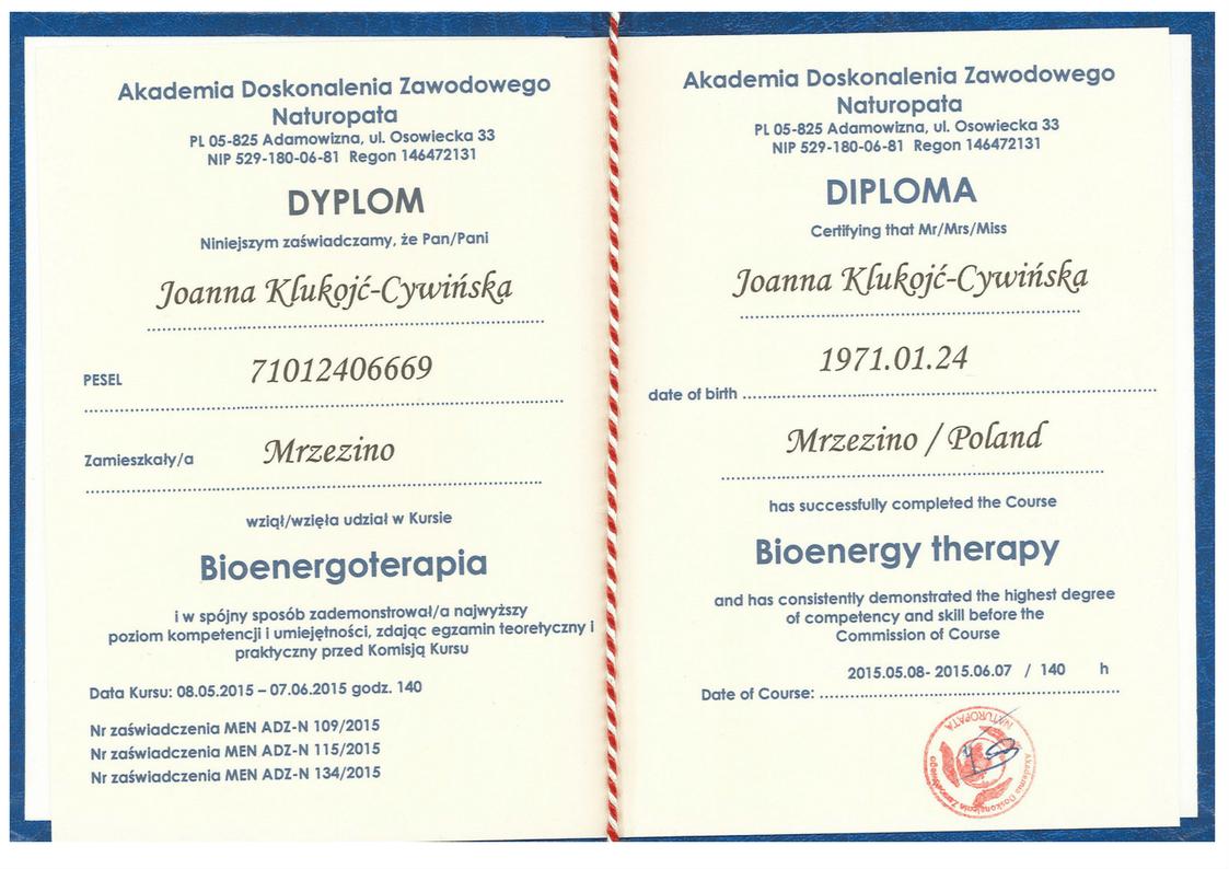 Dyplom Akademia Doskonalenia Zawodowego Naturopata Bioenergoterapia Joanna Klukojc-Cywinska