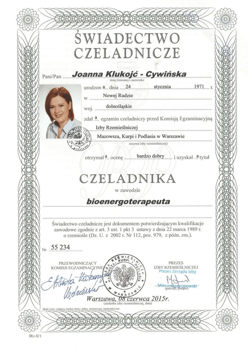 Swiadectwo czeladnika bioenergoterapeuta Joanna Klukojc-Cywinska