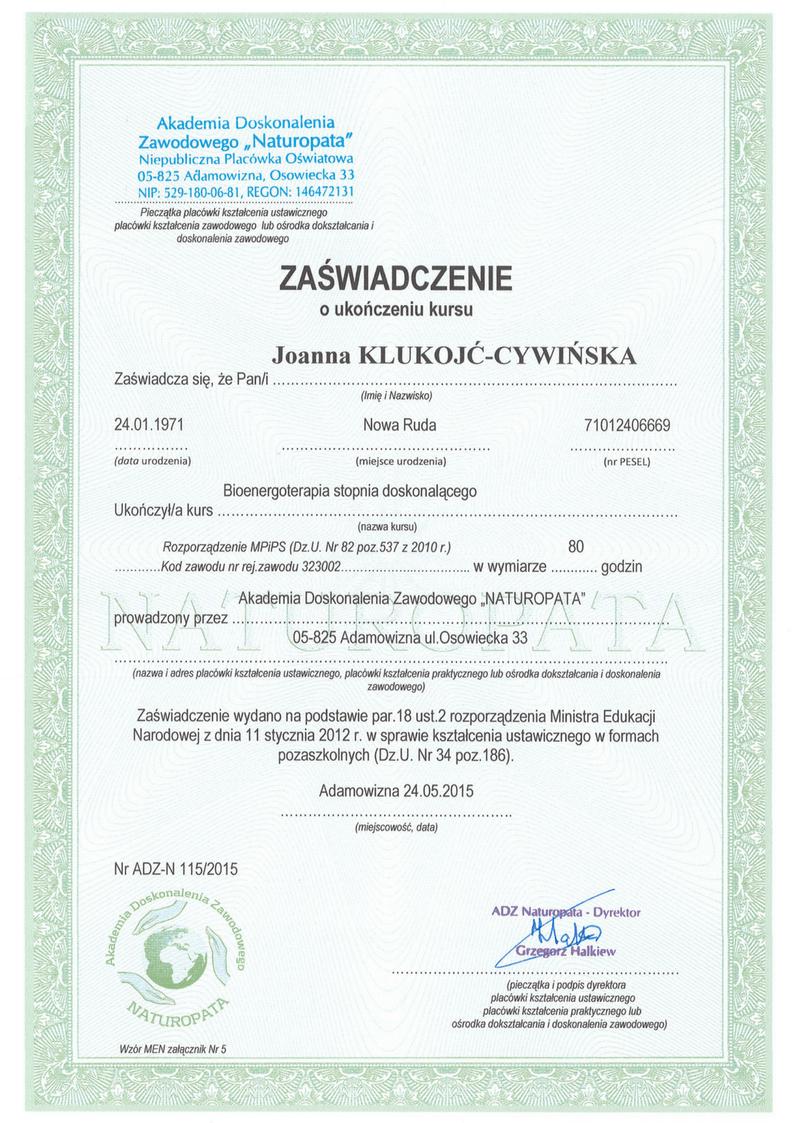 Zaswiadczenie Naturopata 3 Joanna Klukojc-Cywinska